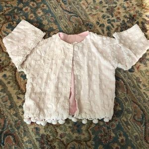 Vintage Hollywood Baby White and Pink Cardigan 2